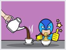 Tiempo de desayuno para el super héroe fotografía de archivo