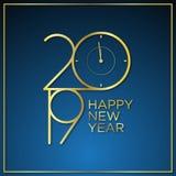 Tiempo de espera con clase del vector del diseño del fondo del Año Nuevo con oro del color ilustración del vector