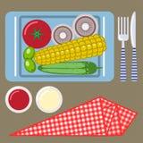 Tiempo de la comida campestre, naturaleza, reconstrucción al aire libre, servilleta, desayuno Foto de archivo