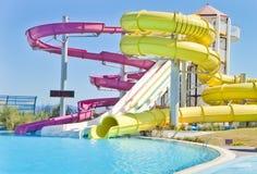 Tiempo de la diversión en Aqua Park en Esmirna Imagen de archivo
