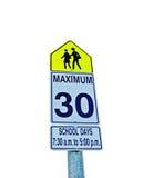 Tiempo de la escuela de la muestra de la zona 30km/hr Fotografía de archivo libre de regalías