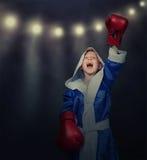 Tiempo de la gloria para el pequeño boxeador Fotografía de archivo libre de regalías