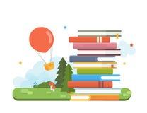 Tiempo de la historia Concepto del cuento de hadas, pila de los libros, paisaje fantástico Ejemplo plano del vector Imagen de archivo