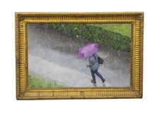 Tiempo de la lluvia en la fotografía del otoño como pintura foto de archivo