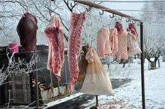 Tiempo de la matanza del cerdo Fotos de archivo