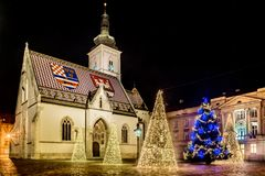 Tiempo de la Navidad en Zagreb, Croacia imagenes de archivo