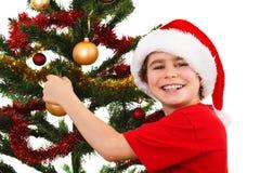 Tiempo de la Navidad - muchacho con Santa Claus Hat Foto de archivo