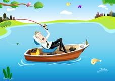 Tiempo de la pesca del hombre de negocios Imagenes de archivo