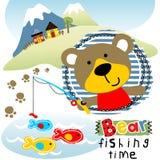 Tiempo de la pesca del ` s del oso ilustración del vector