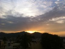 Tiempo de la puesta del sol Fotografía de archivo libre de regalías