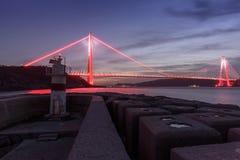 Tiempo de la puesta del sol en el nuevo puente del bosphorus de Estambul Yavuz Sultan Selim Imagen de archivo libre de regalías