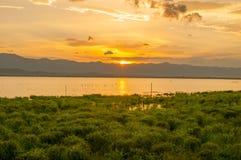 Tiempo de la puesta del sol en Kwan Phayao, Tailandia Foto de archivo libre de regalías