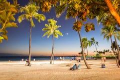 Tiempo de la puesta del sol en la playa de Waikiki, Honolulu, Hawaii Imagenes de archivo
