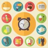 Tiempo de mañana, iconos del empleo de la mañana fijados plano Foto de archivo libre de regalías