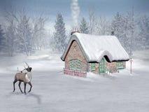 Tiempo de Navidad, cabaña de santa stock de ilustración