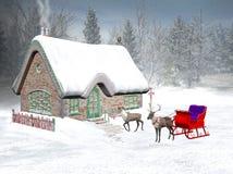 Tiempo de Navidad, cabaña de santa Imagen de archivo libre de regalías