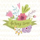 Tiempo de primavera del texto de la primavera del vector en colores exhaustos adornados cinta del ejemplo de la tipografía del ve stock de ilustración