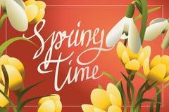 Tiempo de primavera que pone letras a la postal o a la bandera horisontal Fotos de archivo