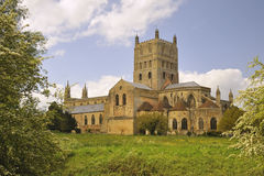 Tiempo de resorte, abadía de Tewkesbury Imagen de archivo