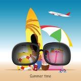 Tiempo de verano con el ejemplo de los artículos Fotografía de archivo libre de regalías