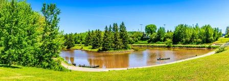 Tiempo de verano en el parque centenario, Moncton, Nuevo Brunswick, Canadá fotos de archivo libres de regalías