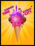 Tiempo de verano en la ciudad de Kuwait - siluetas de fusión de la ciudad del helado Fotos de archivo