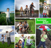 Tiempo de verano feliz de tres hermanos fotos de archivo