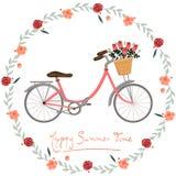 Tiempo de verano feliz de la postal con imagen del vector de la bici y de las flores stock de ilustración