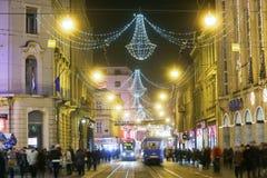 Tiempo del advenimiento en la capital de Croacia Imagen de archivo libre de regalías