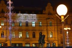 Tiempo del advenimiento en la plaza principal en Zagreb, Croacia Foto de archivo