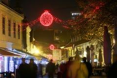 Tiempo del advenimiento en Zagreb en la noche Foto de archivo