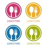 Tiempo del almuerzo de la bifurcación y de la cuchara - símbolo circular del restaurante - ejemplo colorido del vector stock de ilustración