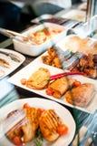 Tiempo del almuerzo de la exposición de la comida Fotografía de archivo libre de regalías