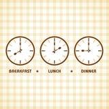 Tiempo del almuerzo y de cena del desayuno Fotos de archivo