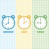 Tiempo del almuerzo y de cena del desayuno Imágenes de archivo libres de regalías