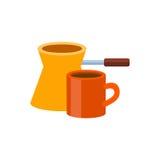 Tiempo del café del cezve de Ibrik ilustración del vector