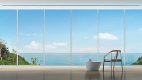 Tiempo del café en interior de lujo de la opinión del mar del hogar moderno Imagen de archivo