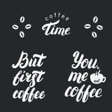 Tiempo del café Pero primer café carteles Imágenes de archivo libres de regalías