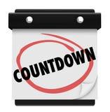 Tiempo del calendario de la palabra de la cuenta descendiente que cuenta esperar de la anticipación Foto de archivo libre de regalías