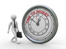 tiempo del hombre de negocios 3d para invertir el reloj Foto de archivo libre de regalías