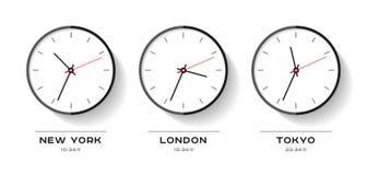 Tiempo del mundo Iconos simples del reloj en estilo plano Nueva York, Londres, Tokio Reloj en el fondo blanco Ejemplo del negocio ilustración del vector