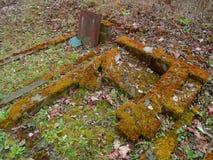 Tiempo del otoño en el cementerio judío abandonado y registrado viejo Foto de archivo libre de regalías