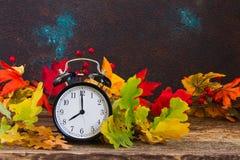 Tiempo del otoño - hojas de la caída con el reloj fotos de archivo