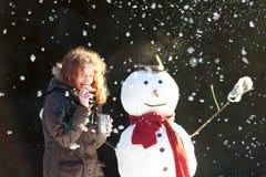 Tiempo del té con un muñeco de nieve Fotos de archivo