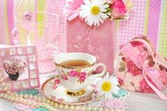 Tiempo del té en estilo romántico fotos de archivo