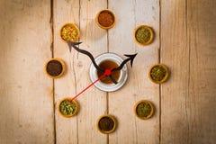 Tiempo del té, reloj de la taza de té Fotos de archivo libres de regalías