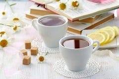 Tiempo del té Taza de té para la relajación fotos de archivo