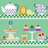 Tiempo del té verde con la comida Imagen de archivo