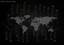 Tiempo en el mundo, Horario de Greenwich de Greenwich, mapa del mundo Fotos de archivo