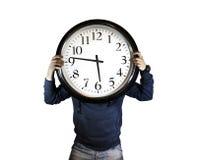 Tiempo, hombre que sostiene el reloj Fotografía de archivo libre de regalías
